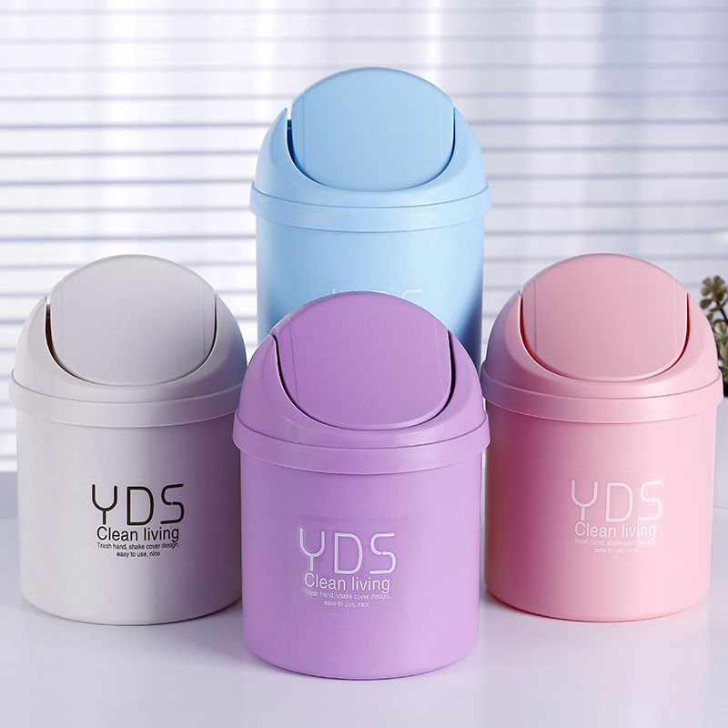 Portable Plastic Desktop Dustbin Trash Cans Mini Table Waste Container Rubbish Bin Desk Organizer Kids Bedroom Clean Box Trash Can Garbage Can Garbage