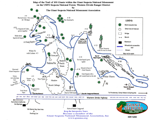 Trail of 100 Giants map   Road Trips From Los Angeles   Sequoia ...