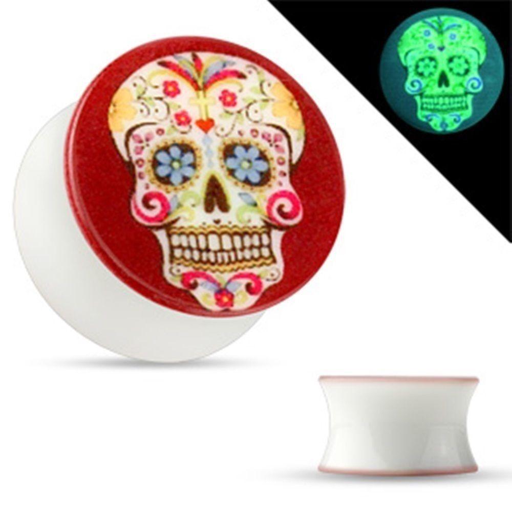 PAIR-Sugar Skull Glow 2-Sided Acrylic Double Flare Plugs 05mm/4 Gauge Body Jewel