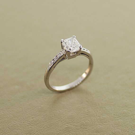 Vintage 14k White Gold and Diamond Engagement by SITFineJewelry