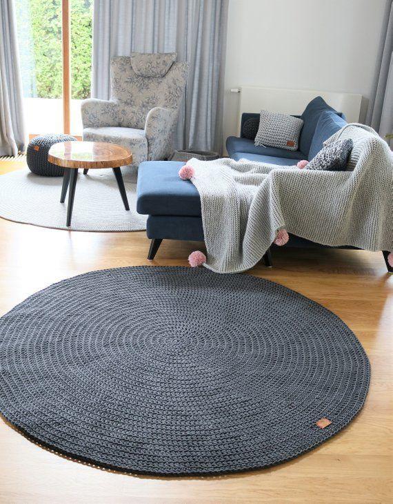 Moderne dunkelgrau Runde Teppich Runde Teppich