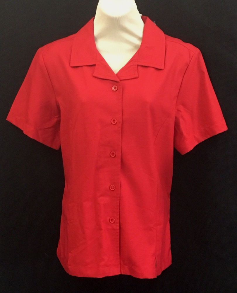 ca3430ca838 New Blair Womens Red Button Down Blouse Size 14 Short Sleeve Textures Linen  Look  Blair