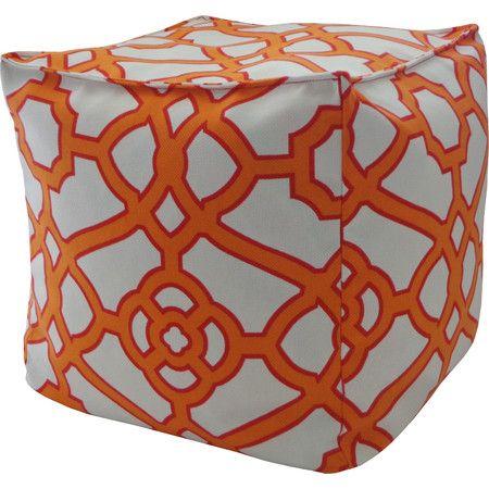 Odette Indoor/Outdoor Pouf in Orange