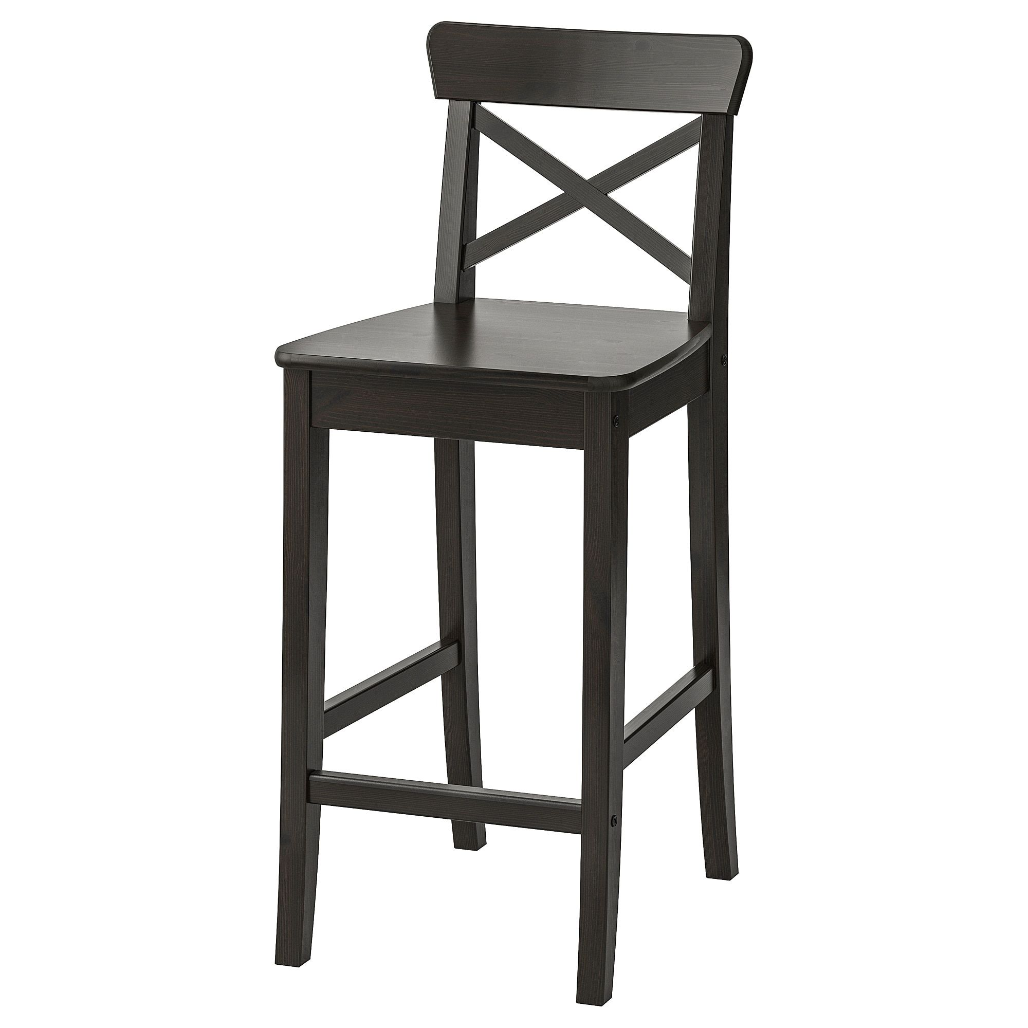 Ingolf Bar Stool With Backrest Brown Black 24 3 4 Bar Stools Wooden Bar Stools Stool