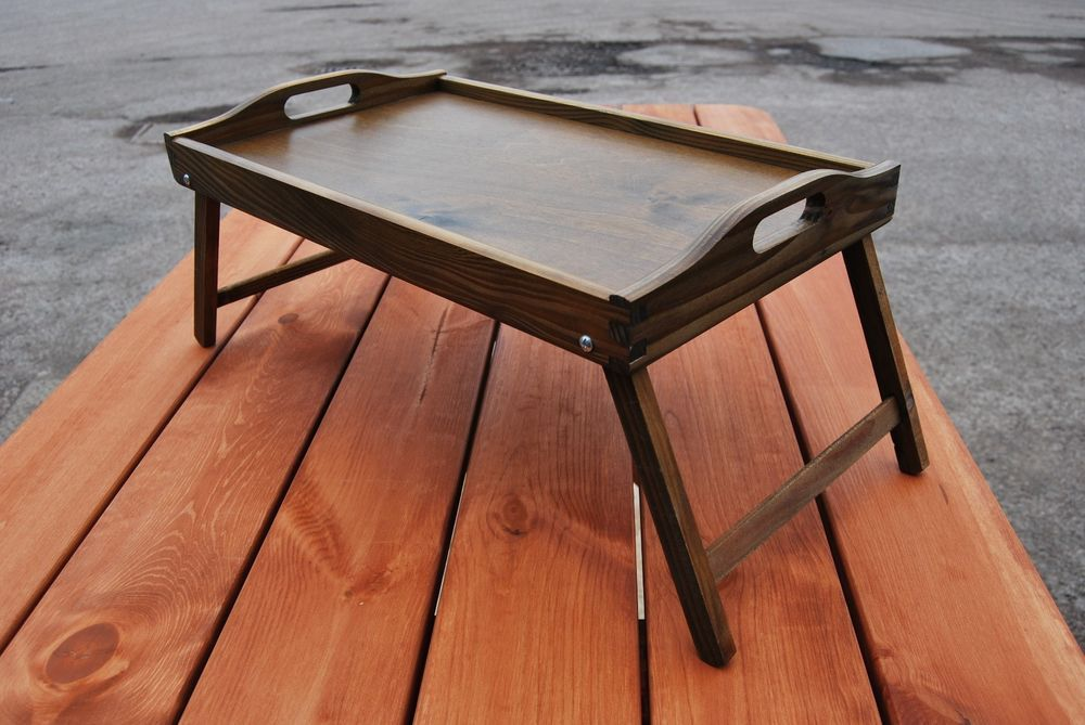 Wooden Breakfast Food Serving Lap Tray With Folding Legs For Bed In Brown Color Ebay Lap Tray Wooden Tray Serving Food