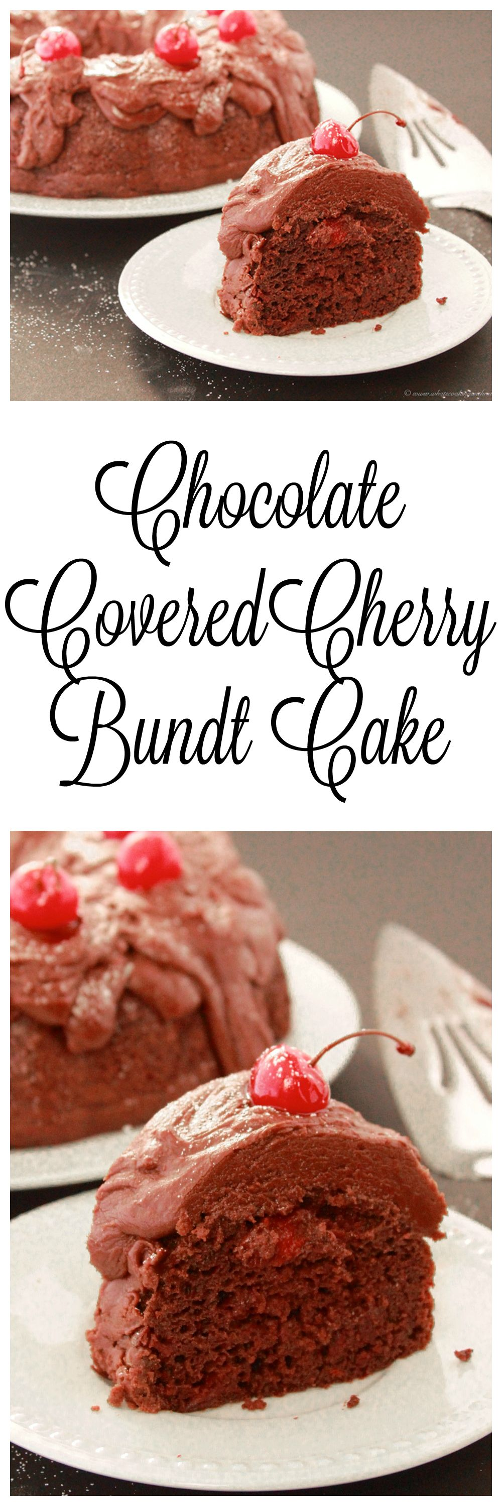Chocolate Covered Cherry Bundt Cake is moist, delicious, and a lovely idea for a Valentines dinner dessert! on www.cookingwithruthie.com
