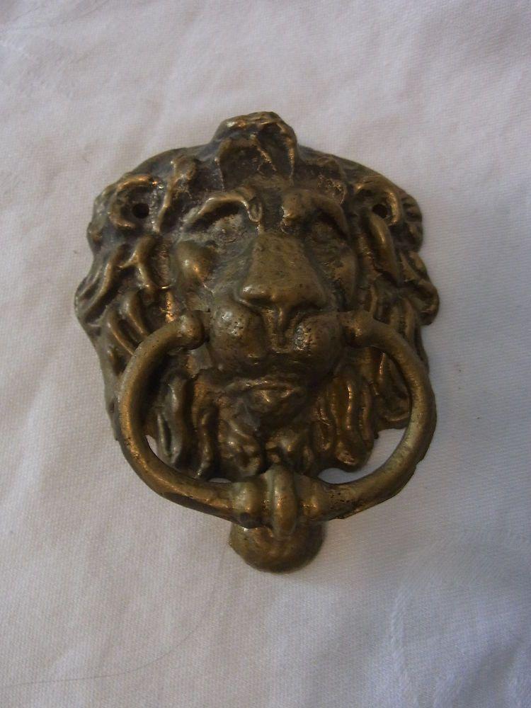 Vintage German Brass Door Knocker Lion Head #K
