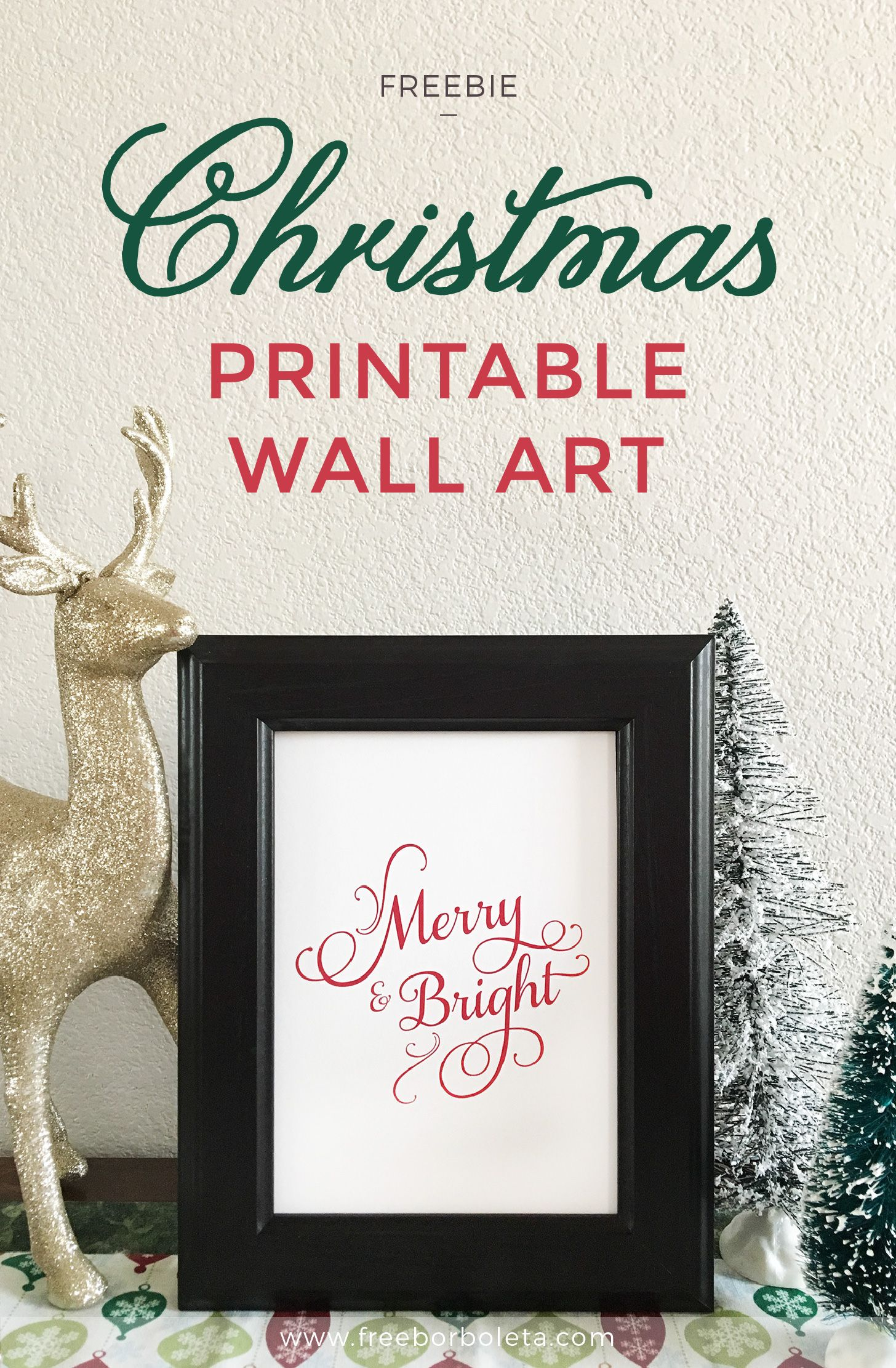 Merry And Bright Free Christmas Printable Art