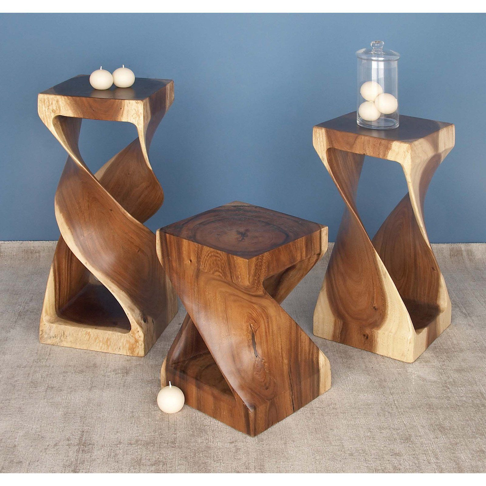 Decmode Natural Suar Wood Square Twisted Design Side Table Wood End Tables Small Accent Tables Square Accent Tables