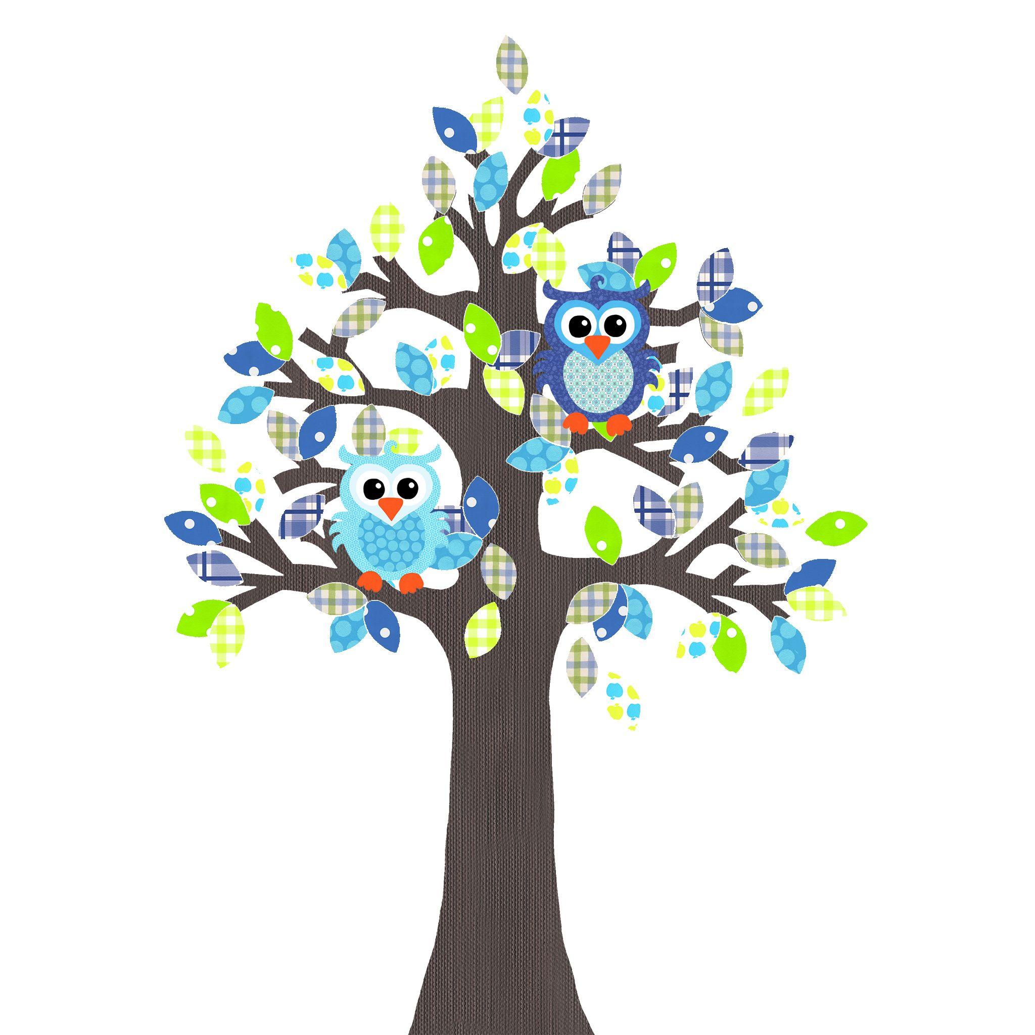 Een prachtige met de hand gemaakte behangboom met de kleuren blauw en groen. Erbij twee uiltjes. Een super blikvanger in de kinderkamer.