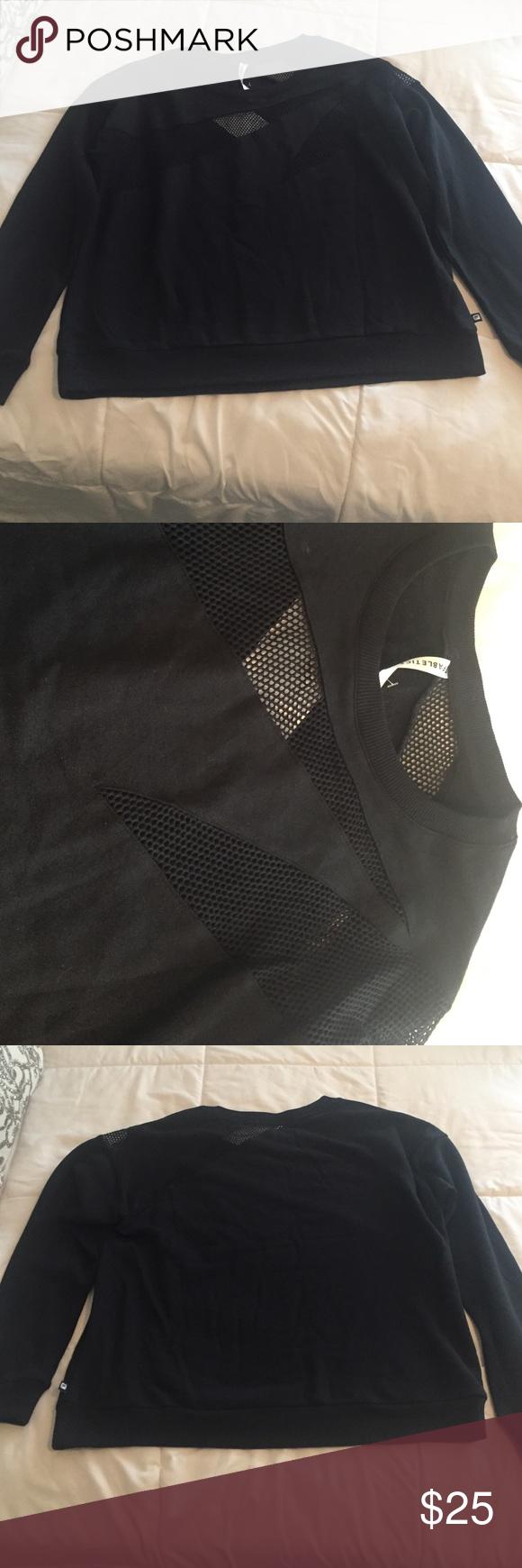 Black Fabletics sweatshirt Black Fabletics light sweatshirt with mesh detailing on the front and back. Brand new, never worn! Fabletics Tops Sweatshirts & Hoodies