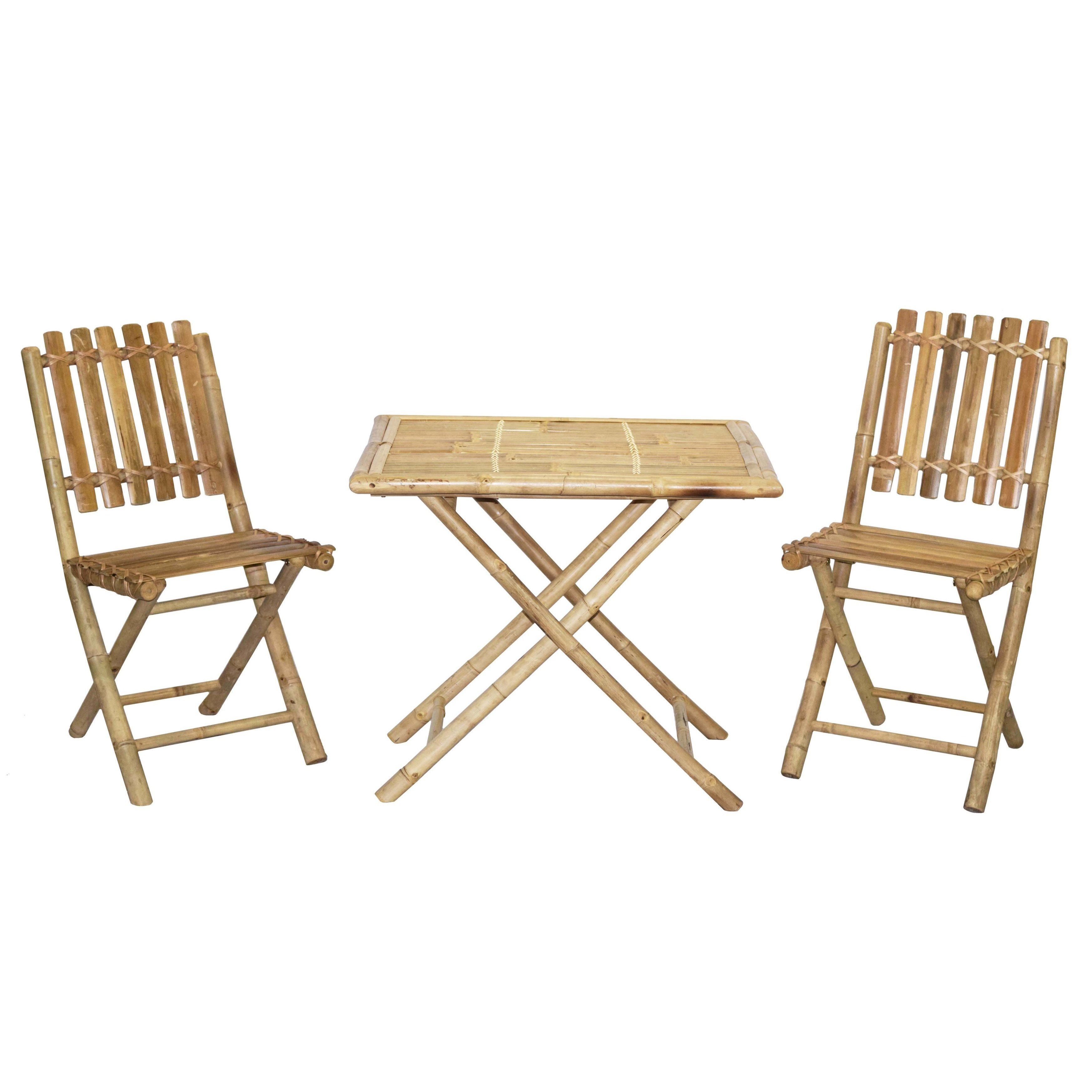 Bistro Bamboo Table And 2 Chairs Patio Set (Vietnam) | Overstock.com  Shopping