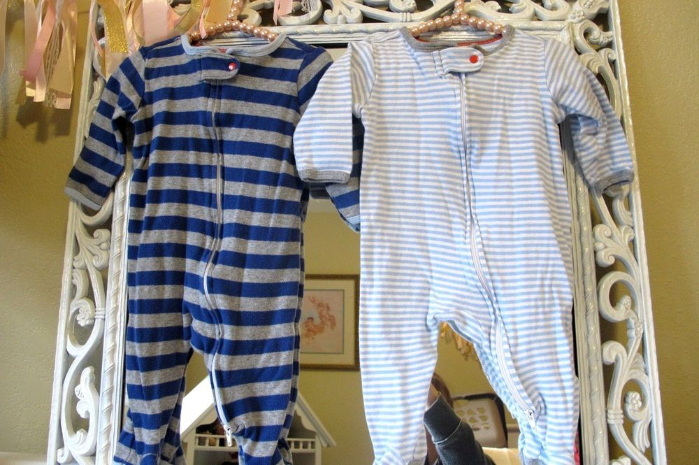 196c55bf9 Boys Baby Cat and Jack Lot of 2 Footed Sleeper Zip Up Pajamas SZ 3-6 Months  #BabyCatandJack #OnePiece