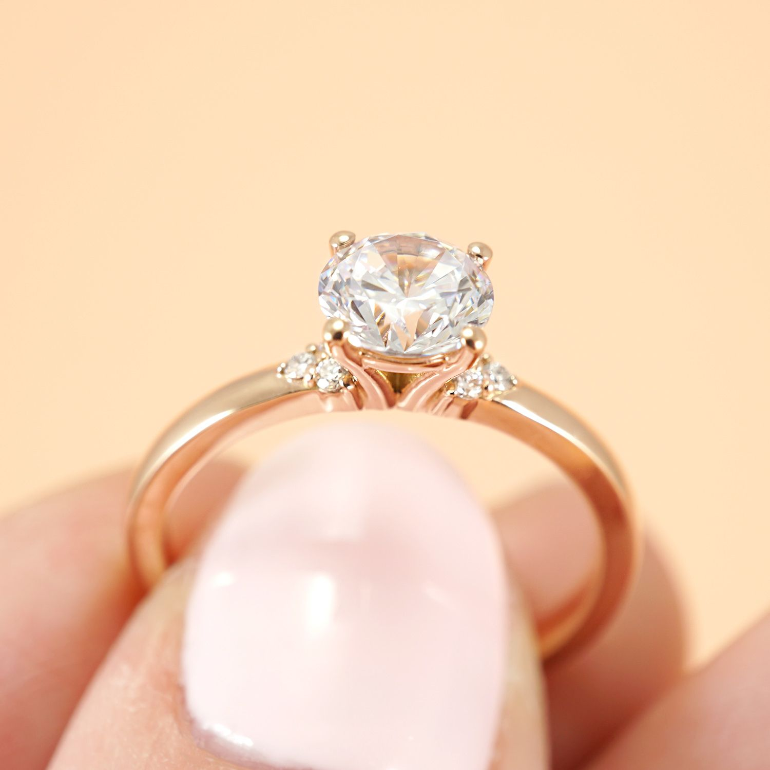 Minimalist Diamond Engagement Ring 104654 Seattle Bellevue Joseph Jewelry In 2020 Small Simple Engagement Rings Round Diamond Engagement Rings Rose Gold Diamond Ring Engagement
