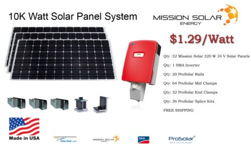 New 10 240 Watt Solar Panel System Grid Tie Monocrystalline 10kw Made In Usa Ad Solar Panel System Solar Panels Solar