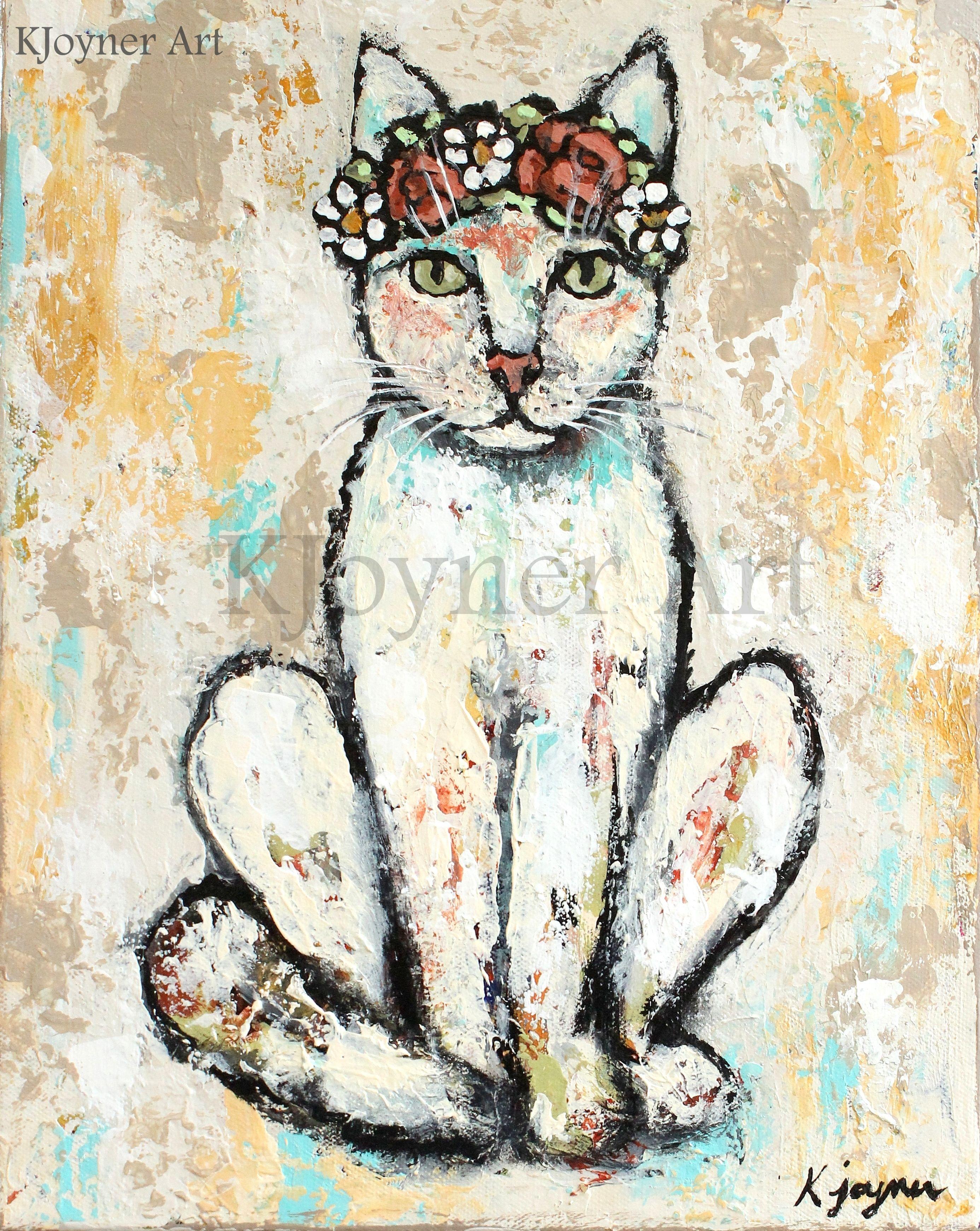 ' Hippie Kitty' Cat Painting By Kendra Joyner