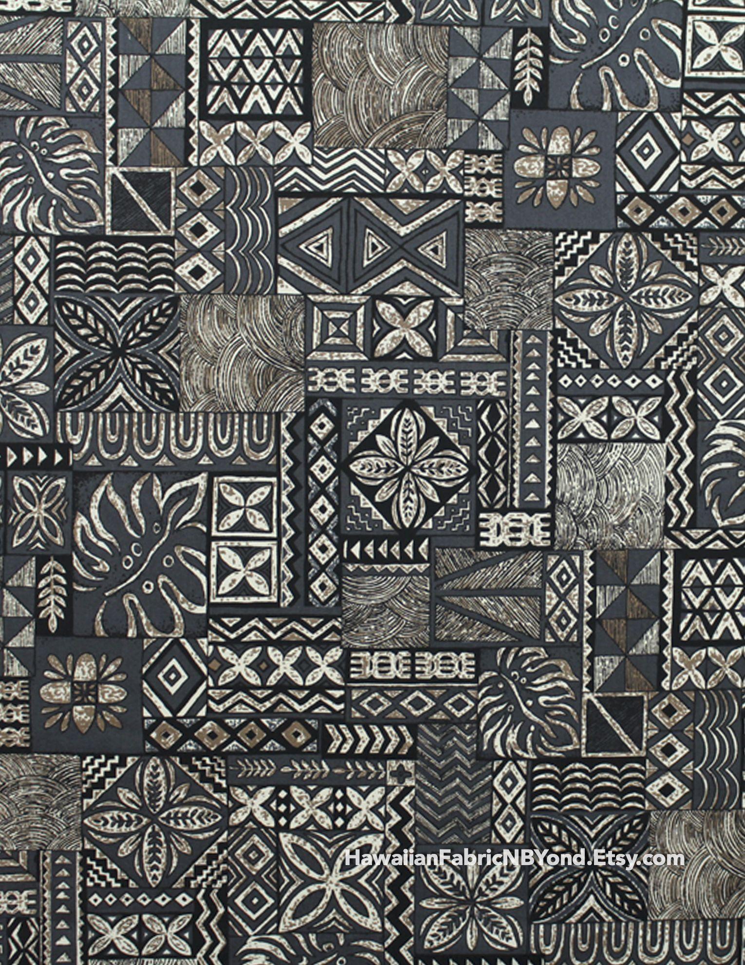 Fabric: Traditional Hawaiian print fabric - tapa and quilt ... : hawaiian quilt tattoo - Adamdwight.com