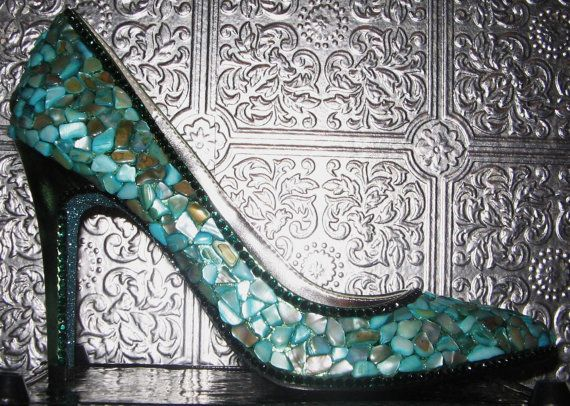 heels with shells crystal rhinestones and glittered by STEAMHATTER, $85.00