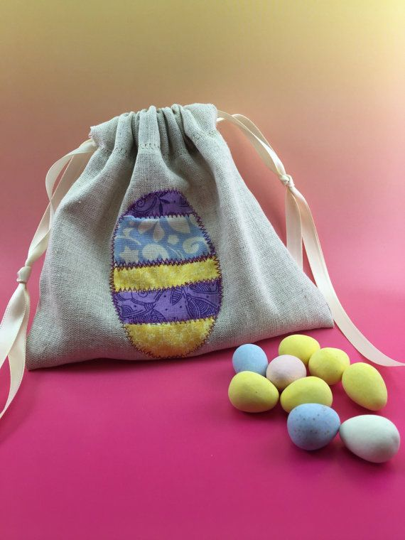 Party favor bag easter egg hand embroidered by spanishvelvet con party favor bag easter egg hand embroidered reusable drawstring linen look muslin for gifts treats jewelery and more negle Choice Image