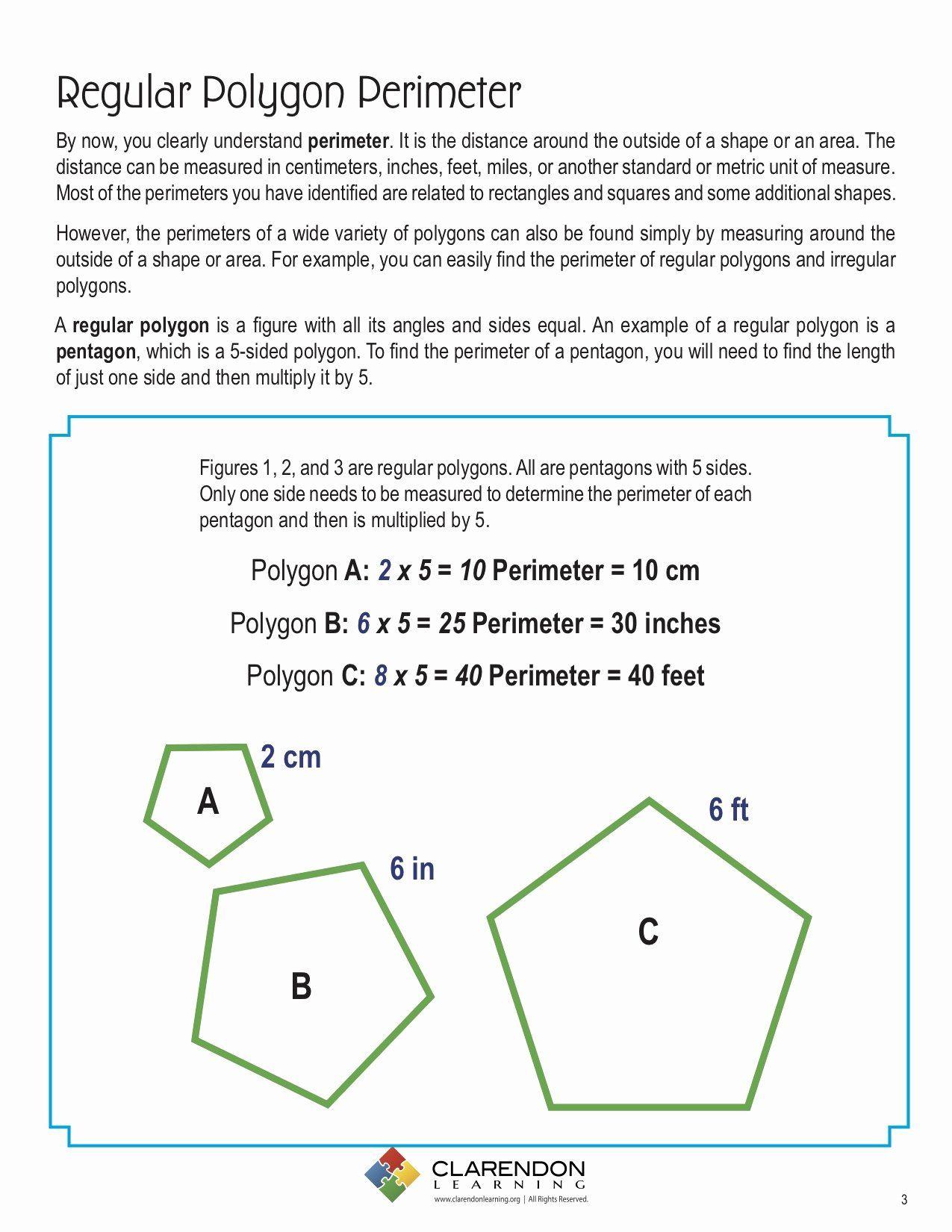 Area Of Regular Polygons Worksheet Beautiful Perimeters Of