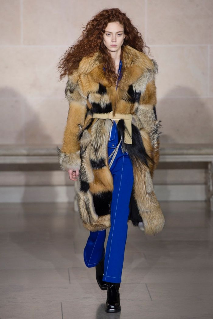 f04b9feb0bd3 Mixed fur coat over blue jumpsuit from Louis Vuitton s fall-winter 2017  collection