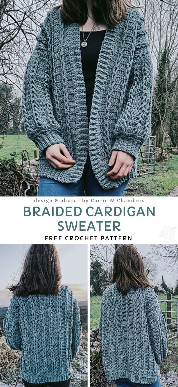 Braided Cardigan Sweater Free Crochet Pattern