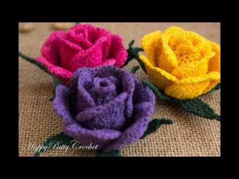Como Tejer flor rosa casi natural tejido a Crochet - YouTube ...