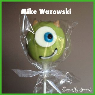 Mike Wazowski from Monsters Inc cake pop by Sugarfly Sweets Cakes