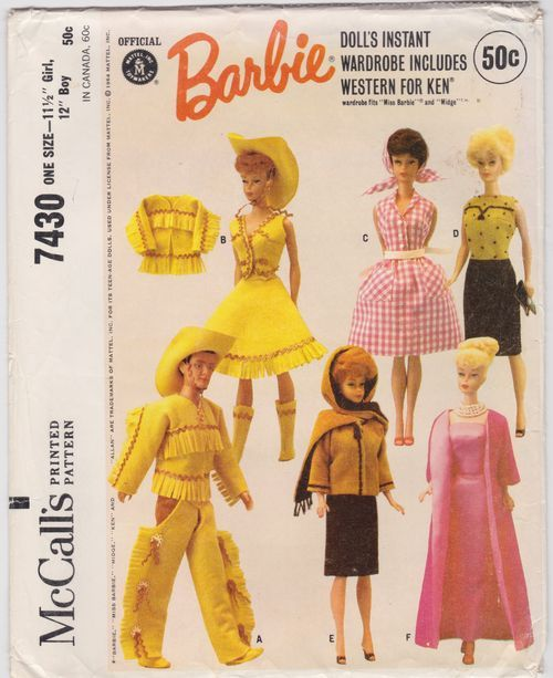 Barbie. McCall\'s doll clothing pattern 7430 . Dolls instant wardrobe ...