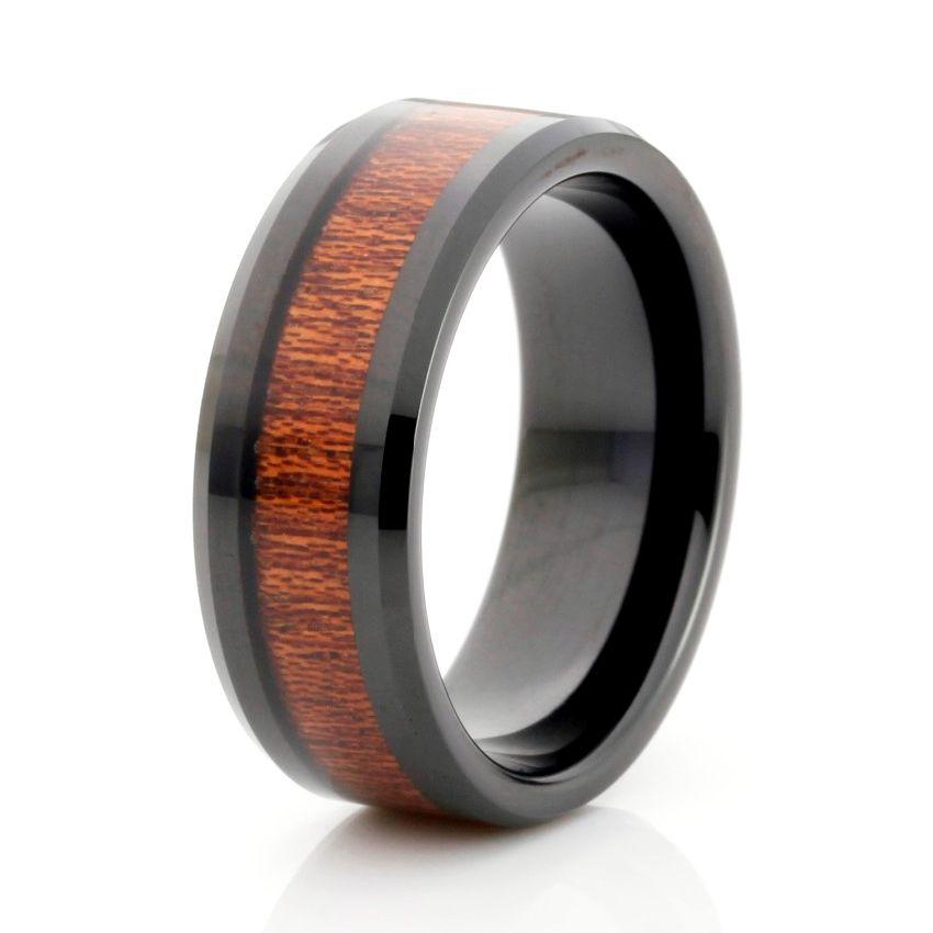 Black Tungsten Ring Wood Inlay Wedding Band Men Tungsten Ring