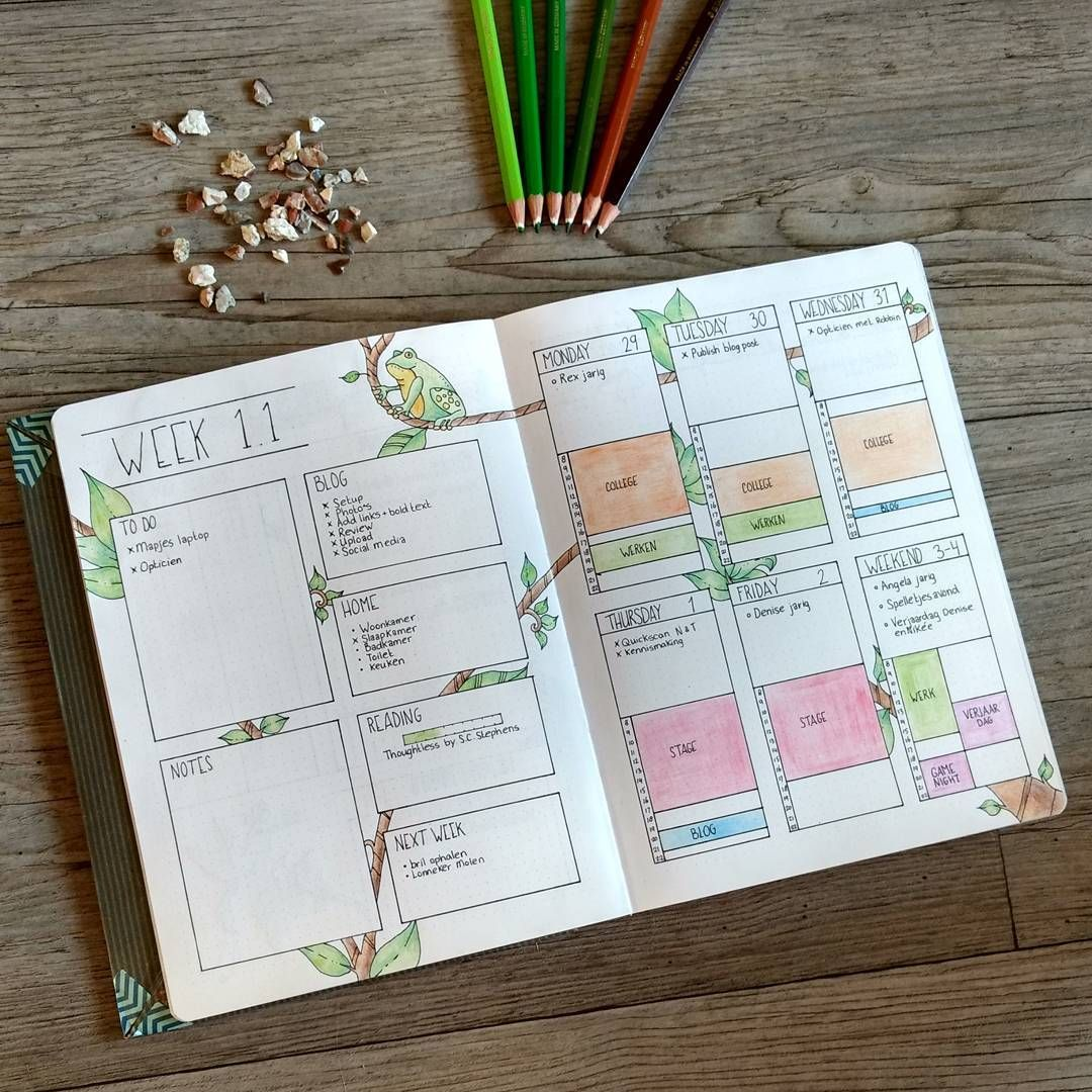 So this is how a filled in weekly spread looks like! Thursday I will publish a new blogpost about this new weekly layout!