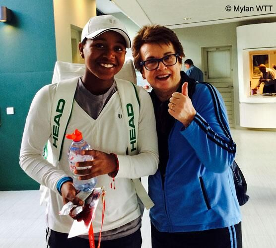 """7/4/14 18 yr old Victoria Duval, the teen titan with the tiny voice pictured here w/ the great Billie Jean King, WTA co-founder and creator of World Team Tennis, announces on FB that she will step away from tennis after being diagnosed with Hodgkin's Lymphoma. VICKY: """"I intend to put up my best fight and have a full recovery. I picture myself healthy, stronger and competing again soon with even more appreciation for the game I so love."""" #SpeedyRecovery #BlessingsMiracles"""