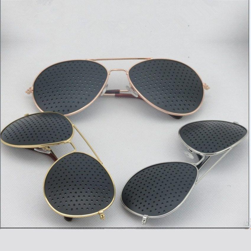작은 구멍 안경 비전 케어 안경 새로운 패션 복고풍 핀홀 선글라스 여성 남성 남녀 시력 개량 안경