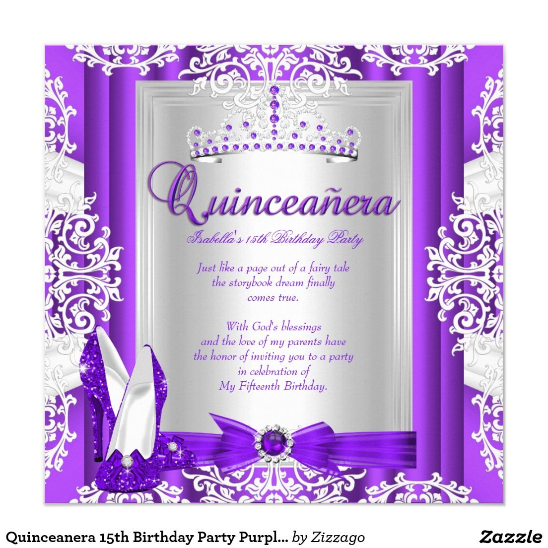 Quinceanera 15th Birthday Party Purple Heels 5.25x5.25 Square Paper ...