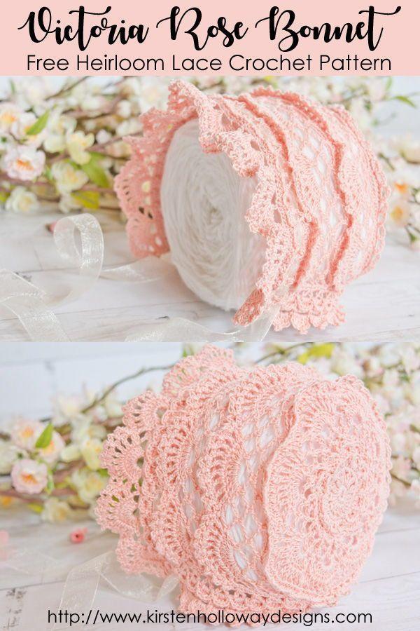 Victoria Rose Baby Bonnet Crochet Pattern - A Beautiful, Vintage ...