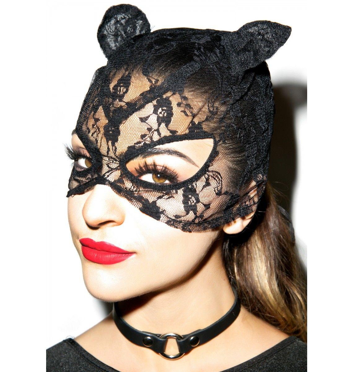 Kat Woman Mask Women, Punk rock outfits, Lace mask