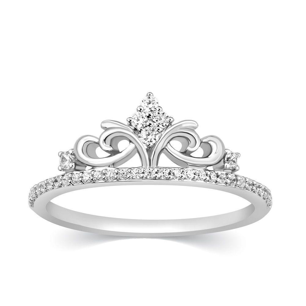 14k Diamond Ring Crown Tiara Princess Queen Band White Gold Girls Fashion 1 5 Ct Rose Gold Black Diamond Black Diamond Wedding Bands Yellow Gold Wedding Ring
