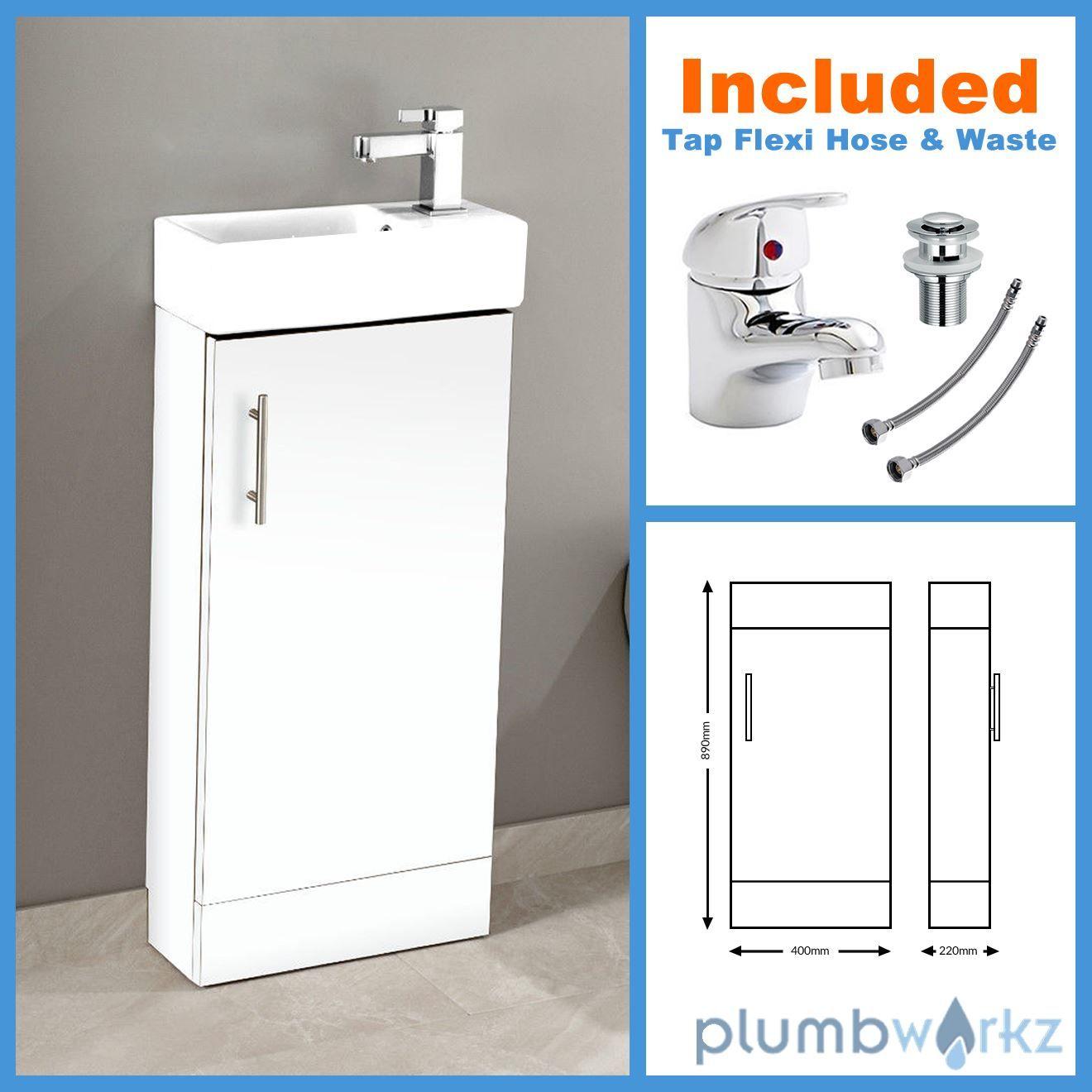 400mm Bathroom Vanity Unit Basin Ceramic Sink Cloakroom Cabinet Optional Taps