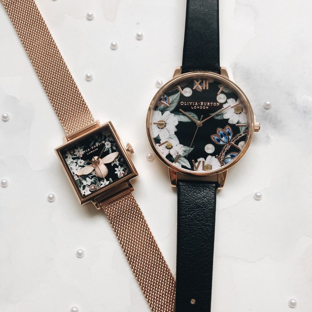 889b9327825 Bejewelled Florals: Square Dial 3D Bee Rose Gold Mesh Watch & Big Dial Black  and Rose Gold Watch <3