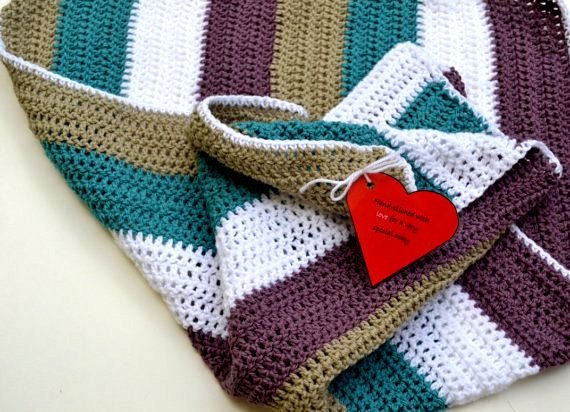 Hand Crochet Stripe Baby Blanket - Teal, White, Purple and Grey on ...