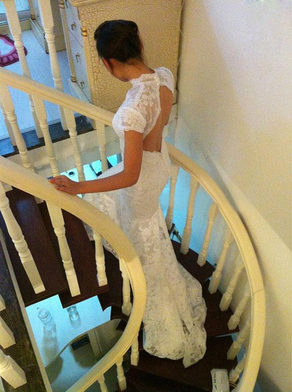 Custom Vintage Square Low back Lace Wedding dress by Susiewear, $399.00  (I just ADORE the back detailing on this one, but I wish there were clearer photos of it on... especially the front. Too bad the veil is in the way!)
