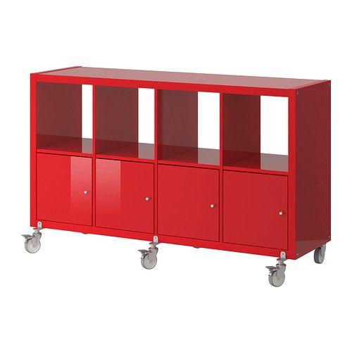IKEA   KALLAX, Shelf Unit On Casters With 4 Doors, High Gloss Red,