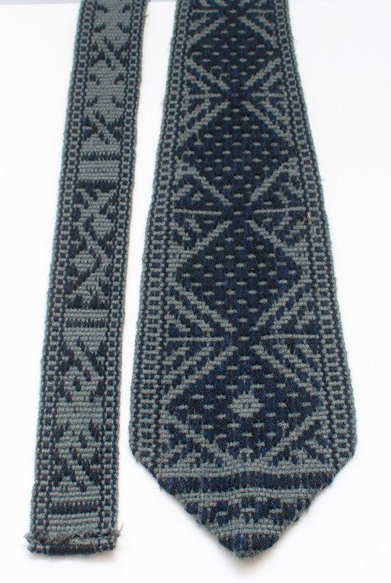 Woolen Tie Aztec Pattern Handwoven In By Collectablemrjones