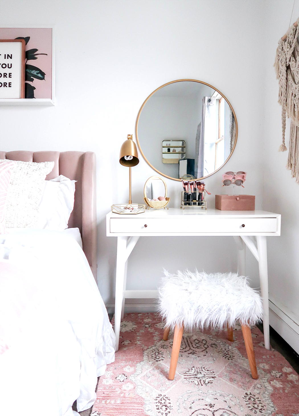Styling A Vanity In A Small Space | Small Space | Vanity As a Nightstand | Blush and White Vanity | Blush and White Bedroom | Makeup Organization | Vanity Organization| Money Can Buy Lipstick #Bedroom