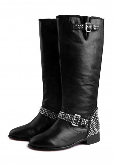 b76cfffee19f Christian Louboutin Shoes Studded Black Motorcycle Boots