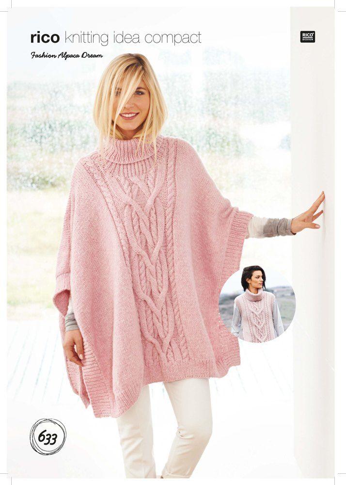 Poncho And Tabard In Rico Fashion Alpaca Dream 633 Yarn Needle