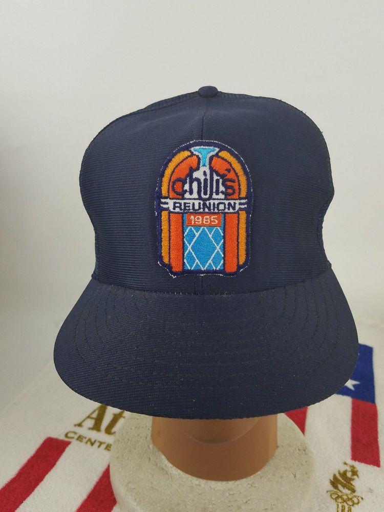 Vintage Chilis Reunion Restaurant mesh trucker hat baseball cap patch logo  1985  Funkap  Trucker 1ae0a0677bcb