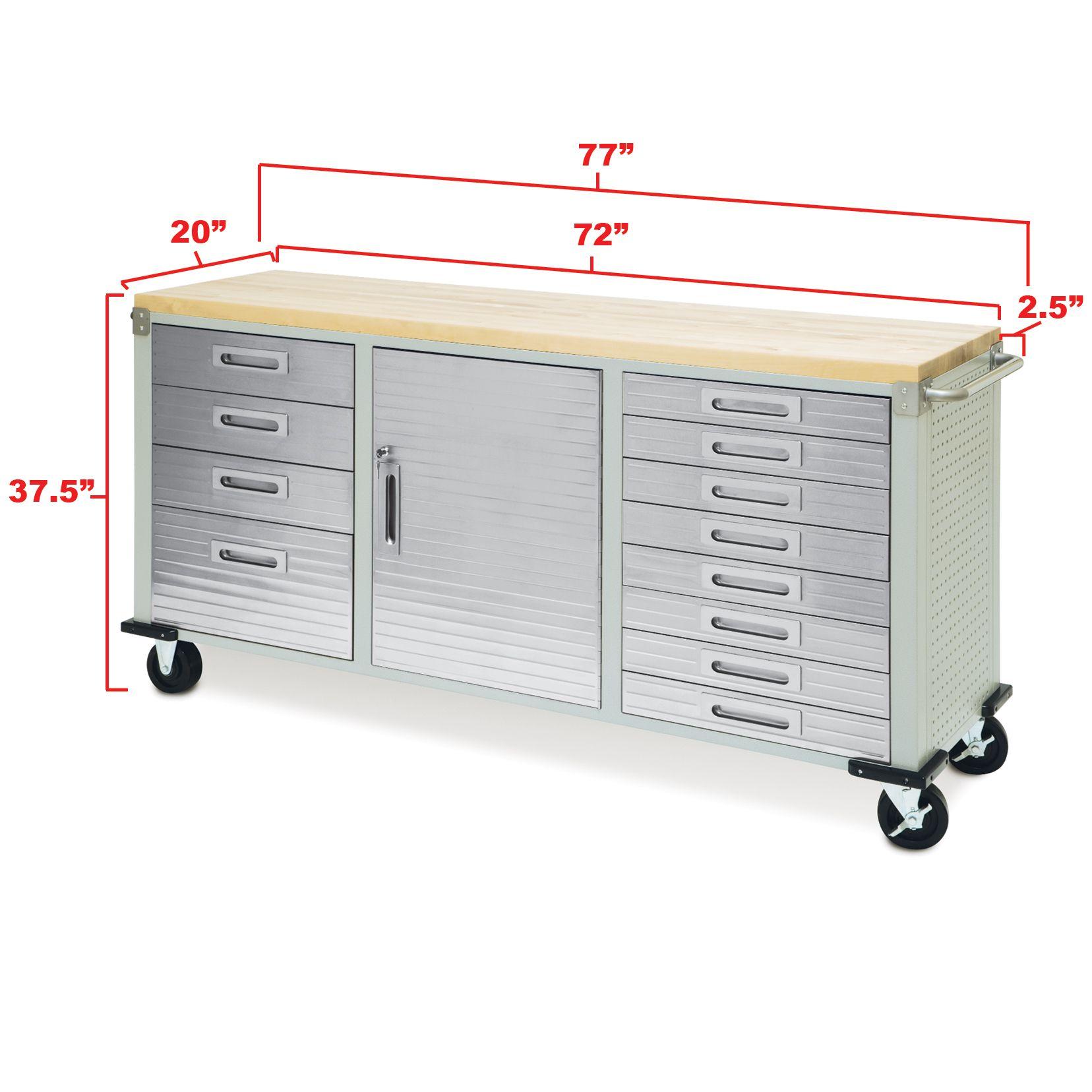 Seville Bench: 12 Drawer UltraHD Rolling Workbench