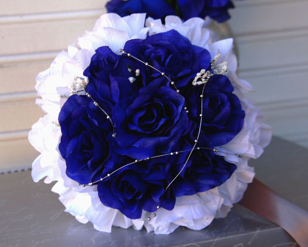Pictures of midnight blue flowers google search poems royal blue silver white wedding bouquet bridal party flower available dhlflorist Image collections