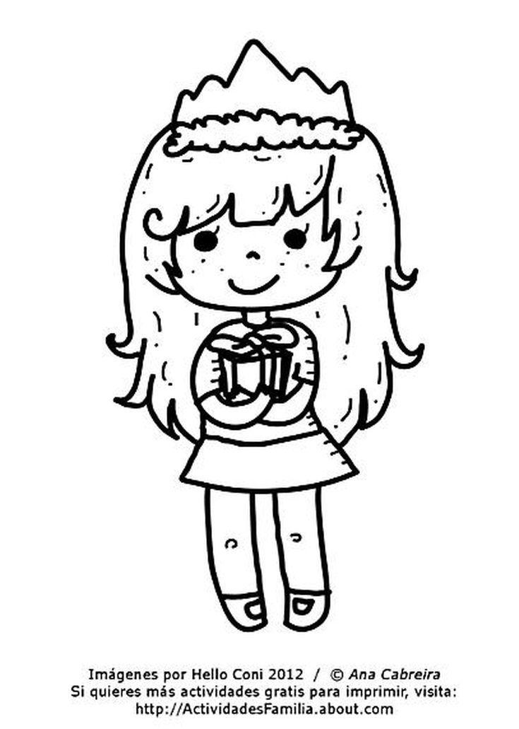 Dibujos de cumpleaños para colorear (Descarga Gratis): Niña con ...
